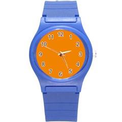 Plain Orange Round Plastic Sport Watch (S)