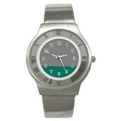 Trolley Grey Green Tropical Stainless Steel Watch