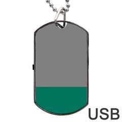 Trolley Grey Green Tropical Dog Tag USB Flash (Two Sides)