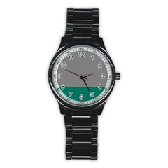 Trolley Grey Green Tropical Stainless Steel Round Watch