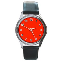 Plain Orange Red Round Metal Watch