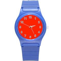 Plain Orange Red Round Plastic Sport Watch (S)