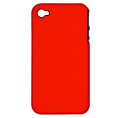 Plain Orange Red Apple iPhone 4/4S Hardshell Case (PC+Silicone)