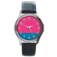 Trolley Pink Blue Tropical Round Metal Watch