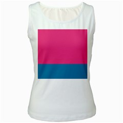 Trolley Pink Blue Tropical Women s White Tank Top