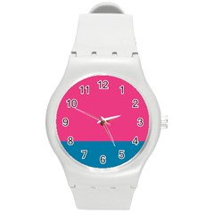 Trolley Pink Blue Tropical Round Plastic Sport Watch (M)