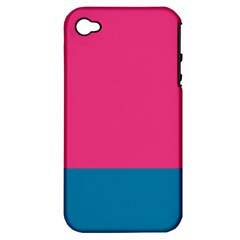 Trolley Pink Blue Tropical Apple iPhone 4/4S Hardshell Case (PC+Silicone)