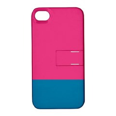 Trolley Pink Blue Tropical Apple iPhone 4/4S Hardshell Case with Stand