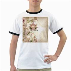 Floral Flower Star Leaf Gold Ringer T-Shirts