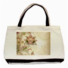 Floral Flower Star Leaf Gold Basic Tote Bag