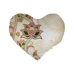 Floral Flower Star Leaf Gold Standard 16  Premium Heart Shape Cushions