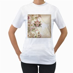 Floral Flower Star Leaf Gold Women s T-Shirt (White)
