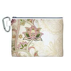 Floral Flower Star Leaf Gold Canvas Cosmetic Bag (L)