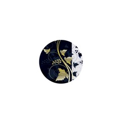Tree Leaf Flower Circle White Blue 1  Mini Buttons