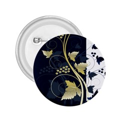 Tree Leaf Flower Circle White Blue 2 25  Buttons