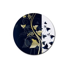 Tree Leaf Flower Circle White Blue Rubber Round Coaster (4 pack)