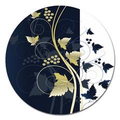 Tree Leaf Flower Circle White Blue Magnet 5  (Round)