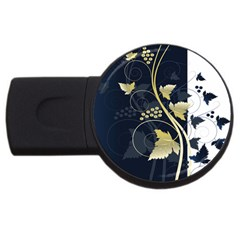 Tree Leaf Flower Circle White Blue USB Flash Drive Round (2 GB)