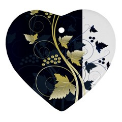 Tree Leaf Flower Circle White Blue Heart Ornament (Two Sides)