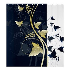 Tree Leaf Flower Circle White Blue Shower Curtain 66  x 72  (Large)