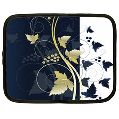 Tree Leaf Flower Circle White Blue Netbook Case (XL)