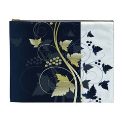 Tree Leaf Flower Circle White Blue Cosmetic Bag (XL)