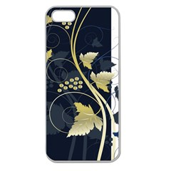 Tree Leaf Flower Circle White Blue Apple Seamless iPhone 5 Case (Clear)