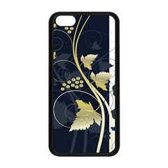 Tree Leaf Flower Circle White Blue Apple iPhone 5C Seamless Case (Black)