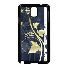 Tree Leaf Flower Circle White Blue Samsung Galaxy Note 3 Neo Hardshell Case (Black)