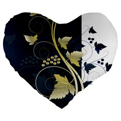 Tree Leaf Flower Circle White Blue Large 19  Premium Flano Heart Shape Cushions