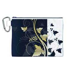 Tree Leaf Flower Circle White Blue Canvas Cosmetic Bag (L)