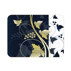 Tree Leaf Flower Circle White Blue Double Sided Flano Blanket (Mini)