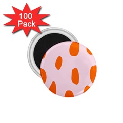 Polka Dot Orange Pink 1.75  Magnets (100 pack)