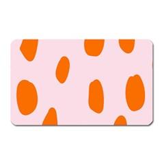 Polka Dot Orange Pink Magnet (Rectangular)