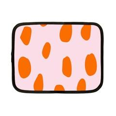 Polka Dot Orange Pink Netbook Case (Small)