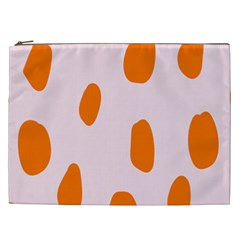 Polka Dot Orange Pink Cosmetic Bag (XXL)