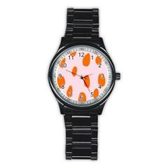 Polka Dot Orange Pink Stainless Steel Round Watch