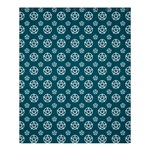 Teal and White Pentacle Pagan Wiccan Shower Curtain 60  x 72  (Medium) 54.25 x65.71 Curtain