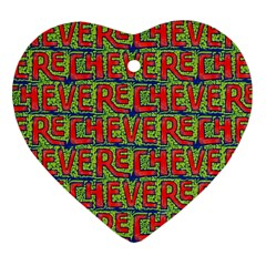 Typographic Graffiti Pattern Heart Ornament (Two Sides)