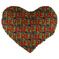 Typographic Graffiti Pattern Large 19  Premium Heart Shape Cushions