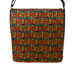 Typographic Graffiti Pattern Flap Messenger Bag (L)