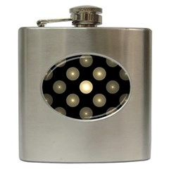 Gray Balls On Black Background Hip Flask (6 oz)