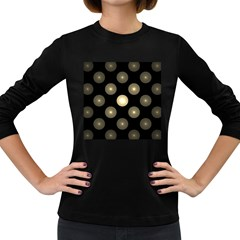 Gray Balls On Black Background Women s Long Sleeve Dark T Shirts