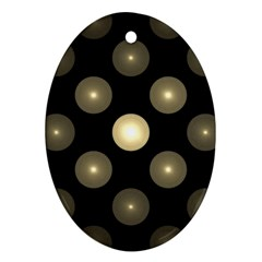 Gray Balls On Black Background Oval Ornament (two Sides)