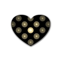 Gray Balls On Black Background Rubber Coaster (Heart)
