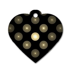 Gray Balls On Black Background Dog Tag Heart (One Side)
