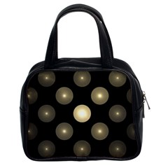 Gray Balls On Black Background Classic Handbags (2 Sides)