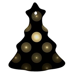 Gray Balls On Black Background Christmas Tree Ornament (two Sides)