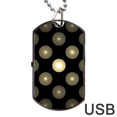 Gray Balls On Black Background Dog Tag USB Flash (One Side)