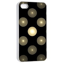 Gray Balls On Black Background Apple iPhone 4/4s Seamless Case (White)